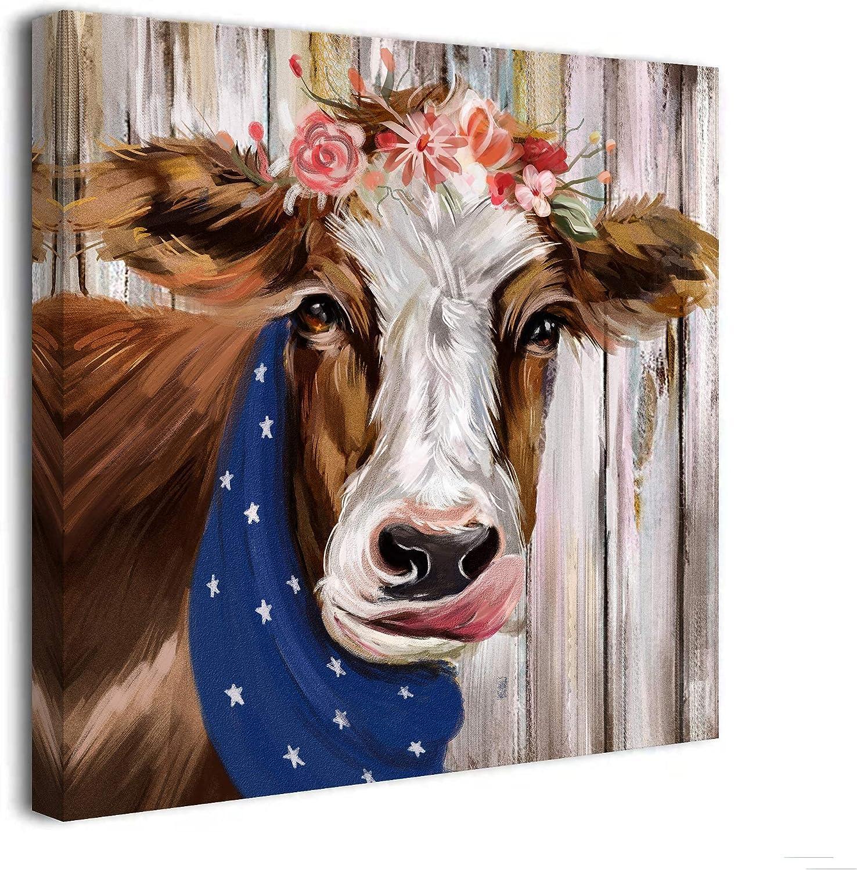 .99 | 13″ x 13″ Cow Canvas on Amazon!