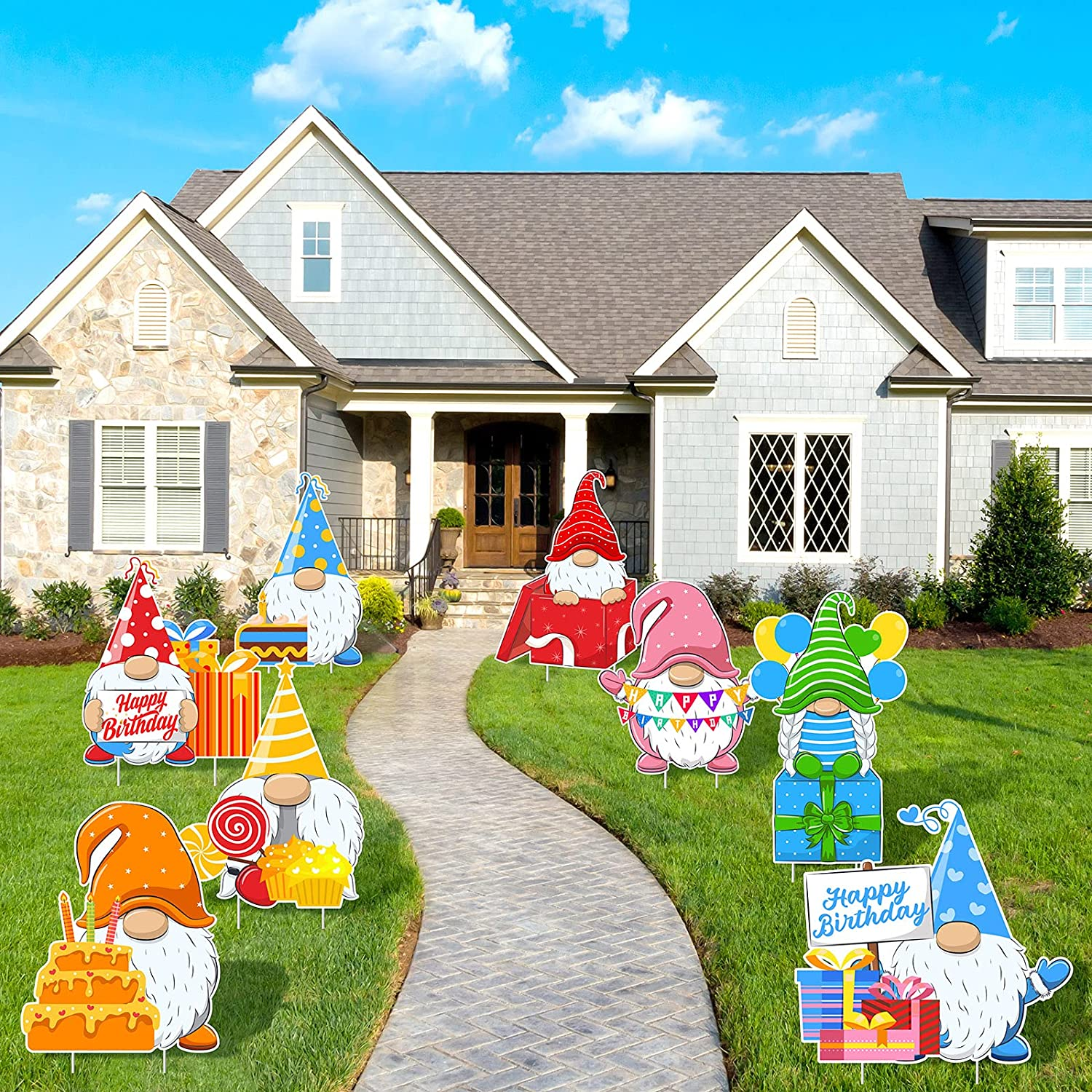 ELCOHO 8 Pieces Happy Birthday Gnomes Garden Flag Yard Party Signs with 16 Stakes Support Banners Supplies for Outdoor Lawn or Party Background Decorations 14 x 14 Inch
