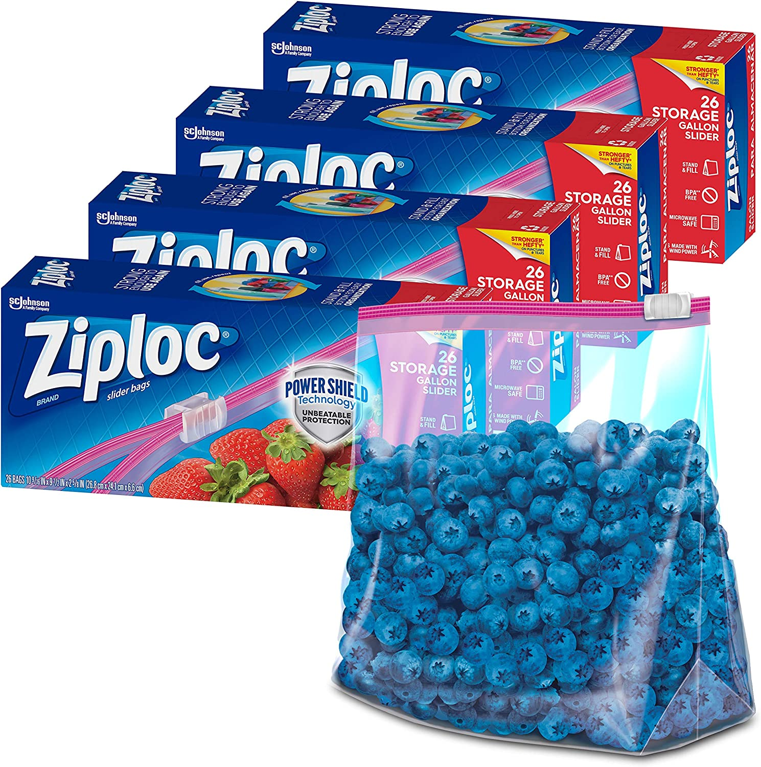 Ziploc Gallon Lowest price challenge OFFicial store Food Storage Slider Technology Power Bags Shield
