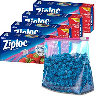 Ziploc Slider Stand-and-Fill Storage Bags, For Food, Sandwich, Organization and More, Gallon, 26 Count, Pack of 4 (104 Tot...