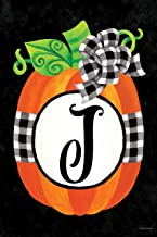 Custom Decor Gingham Pumpkin - Letter J - Embroidered Monogram - Decorative Double Sided Flag - Garden Size, 12 Inch X 18 Inch, Licensed, Copyright & Trademark CDI. USA