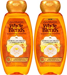 Garnier Whole Blends Illuminating Shampoo with Moroccan Argan and Camellia Oils Extracts, 12.5 floz (Packaging May Vary), 2 Count