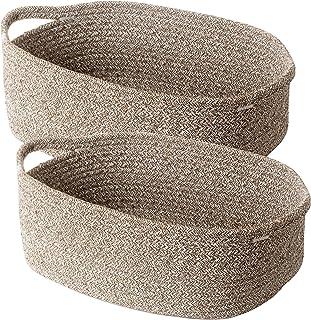 Lot de 2 paniers de rangement décoratifs en corde tressée à base carrée pour placards, armoires, étagères, marron mélangé,...