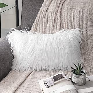 Phantoscope Luxury Series Throw Pillow Covers Faux Fur Mongolian Style Plush Cushion Case for Couch Bed and Chair, White 12 x 20 inches 30 x 50 cm
