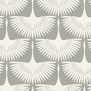 Tempaper x Genevieve Gorder Chalk Feather Flock Removable Peel and Stick Wallpaper, 20.5 in X 16.5 ft, Made in the USA
