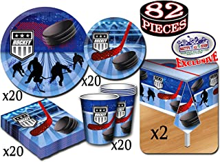 Deluxe Hockey Theme Party Supplies Set for 20 People, Includes 20 Large Plates, 20 Small Plates, 20 Napkins, 20 Cups & 2 Table Covers - Perfect for Gameday or Birthday (82 Pieces Total)