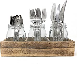 Mason Jar Glass Utensil Holder Silverware Organizer with Rustic Wood Cutlery Caddy for Farmhouse Kitchen Decor and Countertop