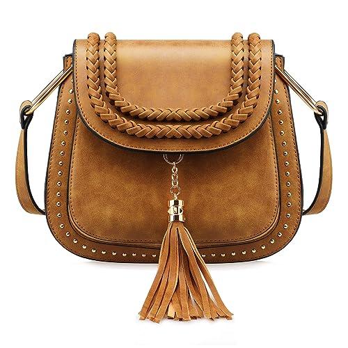 Tom Clovers Womens Vintage Tassel Saddle Shoulder Bag Crossbody Bag Sling  Bag Shopping Travel Satchel f56f85578a99a