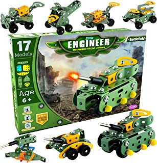 AdiChai - Little Engineer Mechanical Kit for Juniors - Build Your Own Battlefield Vehicles - Building Construction Enginee...