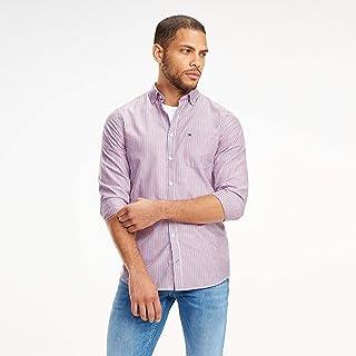TOMMY HILFIGER Men's Classic Slim Two Colour Stripe Shirt, Goji Berry/Multi