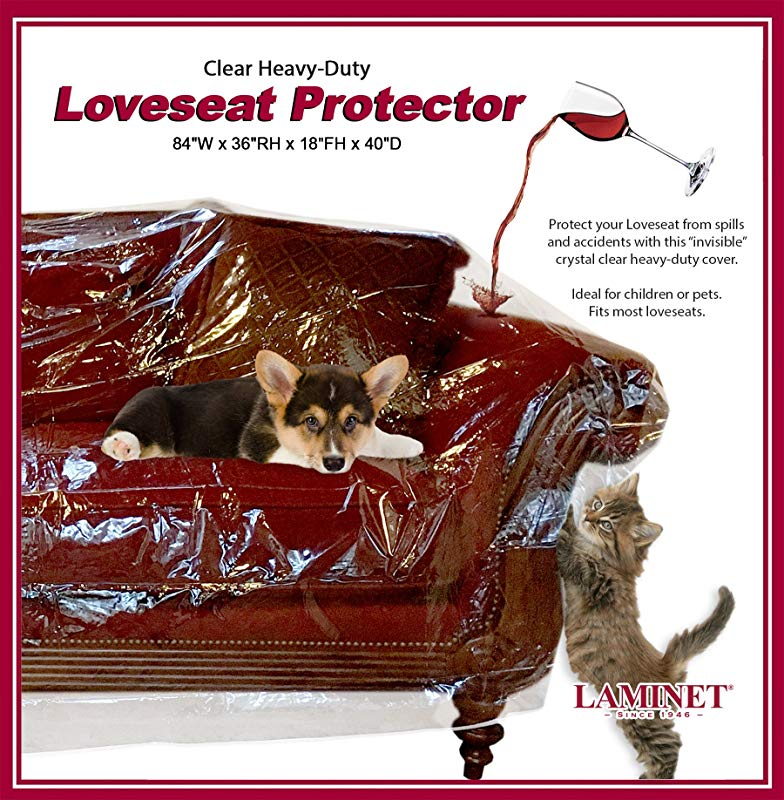 LAMINET Deluxe Heavy Duty Crystal Clear Furniture Protectors Protects Dust Dirt Spills Pet Hair And Dander Paws And Claws Sofa 36 BH X 18 FH X 84 W X 40 D Loveseat Sofa