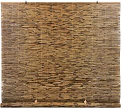 RADIANCE Cord Free, Roll-up Reed Shade, Natural, 72 x 72, Cocoa