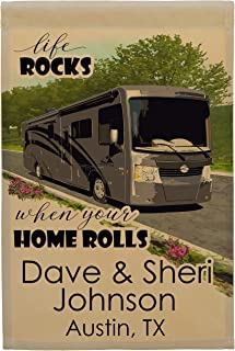 Life Rocks When Your Home Rolls Class A Motorhome Camp Flag Personalized with 3 Lines of Custom Text, Tan Fabric (Gray)