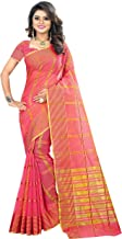The Fashion Outlets Women's Cotton Silk Manipuri Saree with Blouse (Red Pink)