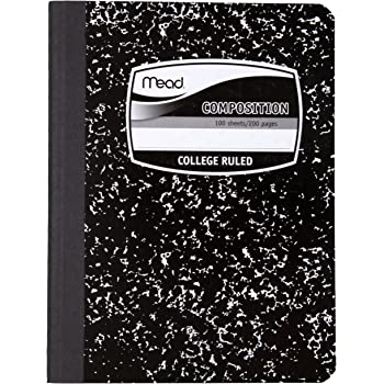 """Mead Composition Notebook, College Ruled Comp Book, Writing Journal with Lined Paper, Home School Supplies for College Students & K-12, 9-3/4"""" x 7-1/2"""", 100 Sheets, Black Marble (09932)"""