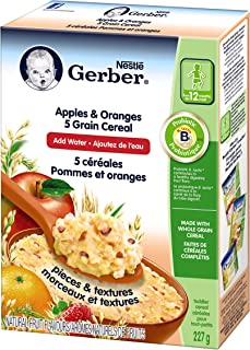 GERBER CEREAL Apples & Oranges with 5 Grain Cereal, Toddler Food, Cereal, 12+ months, 227 g, 6 Pack