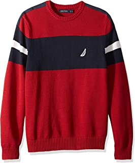 Men's Long Sleeve Colorblocked Crew Neck Sweater