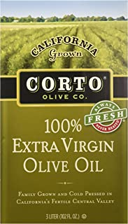 Corto Extra Virgin Olive Oil From California, (3 Liter Fresh Sealed Bag in Box)