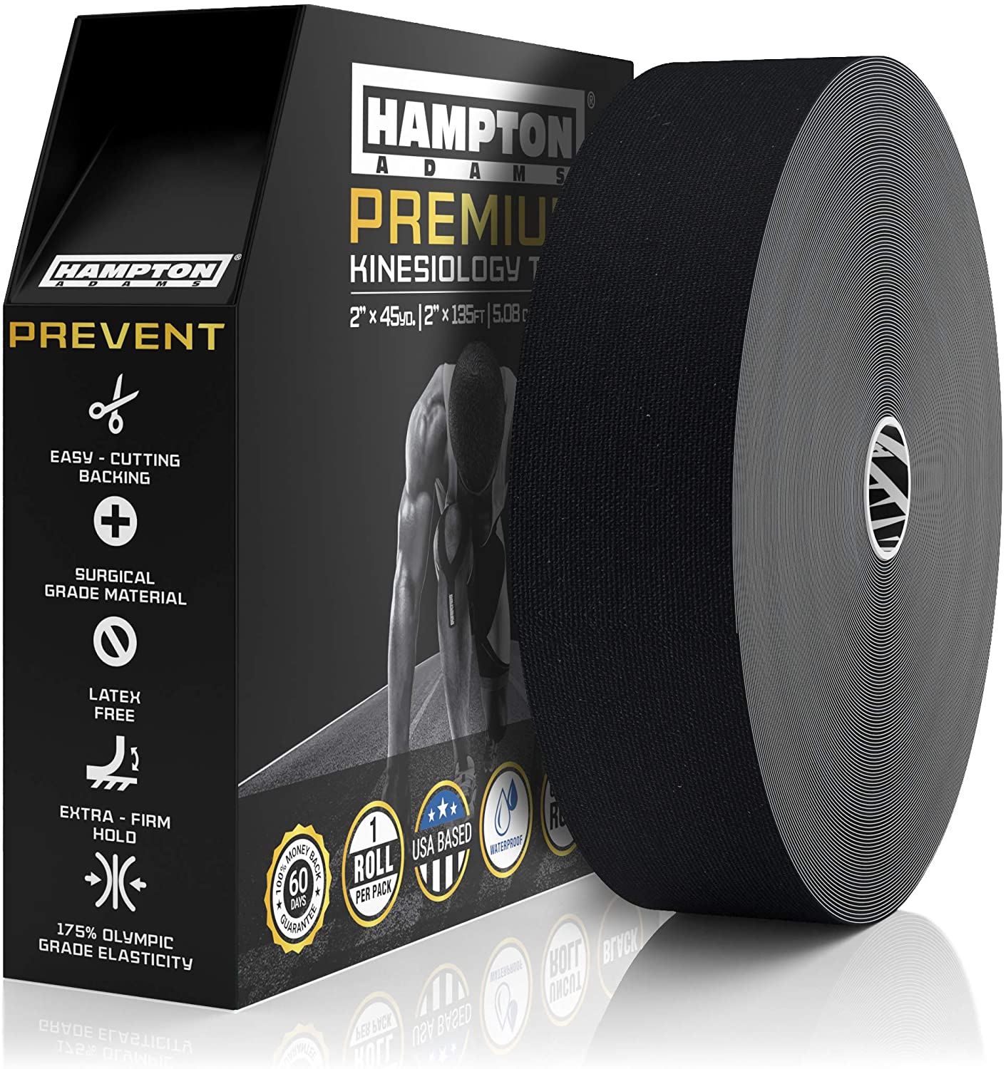 (135 Feet) Bulk Kinesiology Tape Waterproof Roll Sports Therapy Support for Knee, Muscle, Wrist, Shoulder, Back/Original Uncut Premium Therapeutic Elastic & Hypoallergenic Cotton - (Black): Health & Personal Care