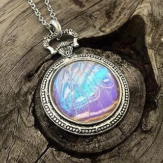 Real butterfly wing jewelry - Pearl Morpho Sulkowski - looks like an opal moonstone necklace - Faux pocket watch pendant - October Birthstone