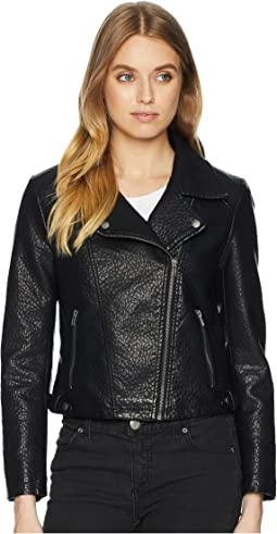 Doin It Right Rippled Vegan Leather Jacket