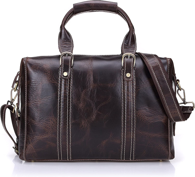 Geremen Men's Brown Leather Gym Sports Weekend Travel Duffel Bag Boarding Bag S8029