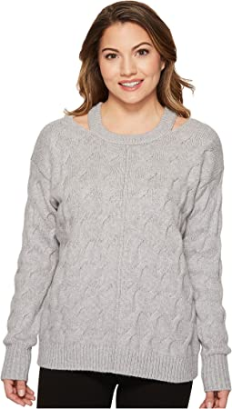 Vince Camuto Specialty Size Petite Long Sleeve Cable Sweater with Neck Cut Out