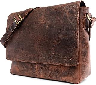 LEABAGS Oxford Umhängetasche Leder Laptoptasche 15 Zoll aus echtem Büffel-Leder im Vintage Look, LxBxH: ca. 38x10x31 cm - Braun Meets Rot