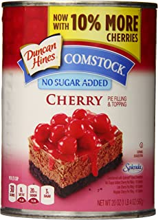 Duncan Hines Comstock No Sugar Added Pie Filling & Topping, Cherry, 20 Ounce (Pack of 8)