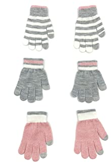 accsa Winter Kid Girl Warm Pink Stripe Knit Touch Screen Stretchy Magic Glove 3pc Sets One Size