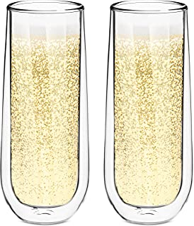 Style Setter Double Wall Champagne Flutes – Set of 2 8.5oz Insulated Stemless Cocktail Glasses for Champagne, Wine, Spirits & Other Hot & Cold Drinks – Unique Gift Idea for Wedding or Holiday