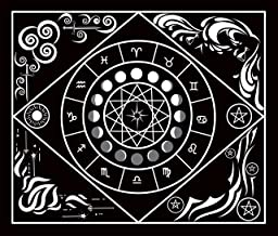 Sun, Moon, and Zodiac Tarot Tapestry with Hanging Loops, 59 Inches x 51 Inches, Blacklight Reactive, Black and White, Peachskin