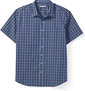 Men's Big & Tall Short-Sleeve Plaid Casual Poplin Shirt...