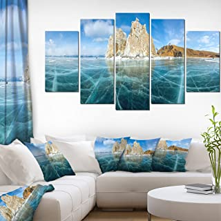"DesignArt 4Piece Lake Baikal Ice and RocksパノラマLarge Seascapeアートキャンバス印刷 60x32"" - 5 Panels Diamond Shape ブルー PT11711-373"