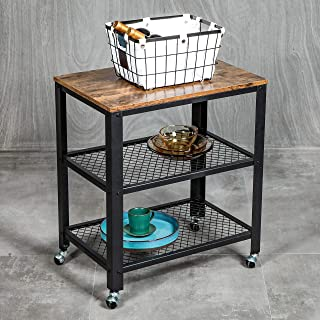 VINEXT 3-Tier Kitchen Serving Cart, Industrial Rolling Cart on Wheels, Simple and Convenient Storage Rack for Living Room, Vintage Style Wooden Board, Stable Metal Frame