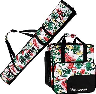 BRUBAKER Combo Set CarverSpotlight - Ski Bag and Ski Boot Bag for 1 Pair of Skis + Poles + Boots + Helmet - Flamingos - 66 7/8 Inches / 170 cm