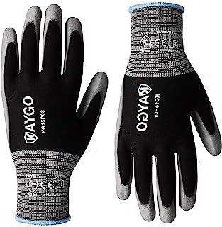 Work Gloves PU Coated-12 Pairs,KAYGO KG15P,Nylon Lite Polyurethane Safety Work Gloves, Gray Polyurethane Coated, Knit Wrist Cuff,Ideal for Light Duty Work