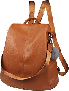 Nevenka Women Backpack Purse Waterproof Leather Anti-theft Fashion Casual Lightweight Travel Shoulder Bag (Maple Brown, Style One)