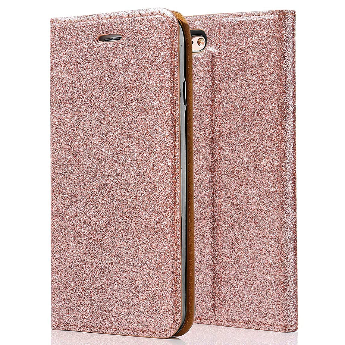 for iPhone 5S/SE/5 Case,iPhone SE Bling Case L-FADNUT Luxury Bling Glitter Flip Case PU Leather Magnetic Wallet Cover Inner Soft TPU Silicone Case with Card Slots and Stand Protective Cover Rose Gold