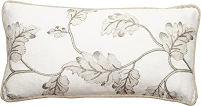 Corona Decor Embroidered Leaves Square Throw Pillow, 17 by 11-Inch