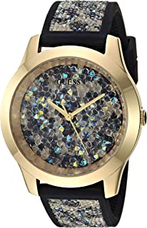 d1a00efd9 GUESS Comfortable Gold-Tone + Animal Print Silicone Watch Adorned with  Swarovksi ® Crystals.