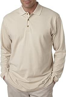 UltraClub Men's Long Sleeve Pique Polo