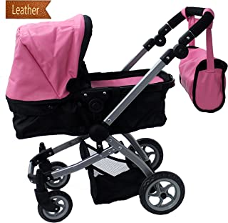 Babyboo Luxury Leather Look Doll Pram with Swiveling Wheels & Adjustable Handle and Free Carriage Bag - 9651B Pink
