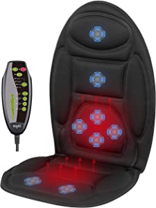 Mynt Vibrating Seat Massager with Heating Area – Over-Seat Cover, Up to 3.800RPM – for Back and Shoulders; Improve Blood Circulation, Refresh Muscles