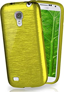 MoEx® Funda de Silicona con Aspecto Aluminio Cepillado Compatible con Samsung Galaxy S4 Mini en Vert Olive
