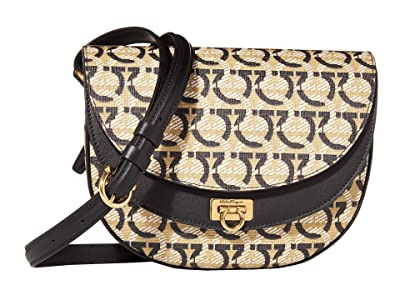 Salvatore Ferragamo Travel Saddle Bag (Gancini Print) Handbags