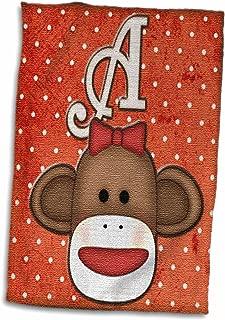 3D Rose Cute Sock Monkey Girl Initial Letter A Hand/Sports Towel 15 x 22