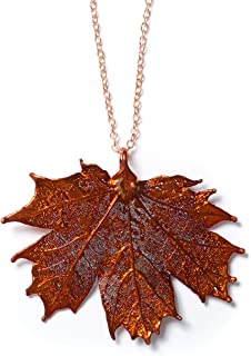 copper maple leaf necklace