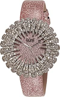 Burgi Women's Crystal Accented Sparkling Dial Glossy Leather Strap Watch - BUR112
