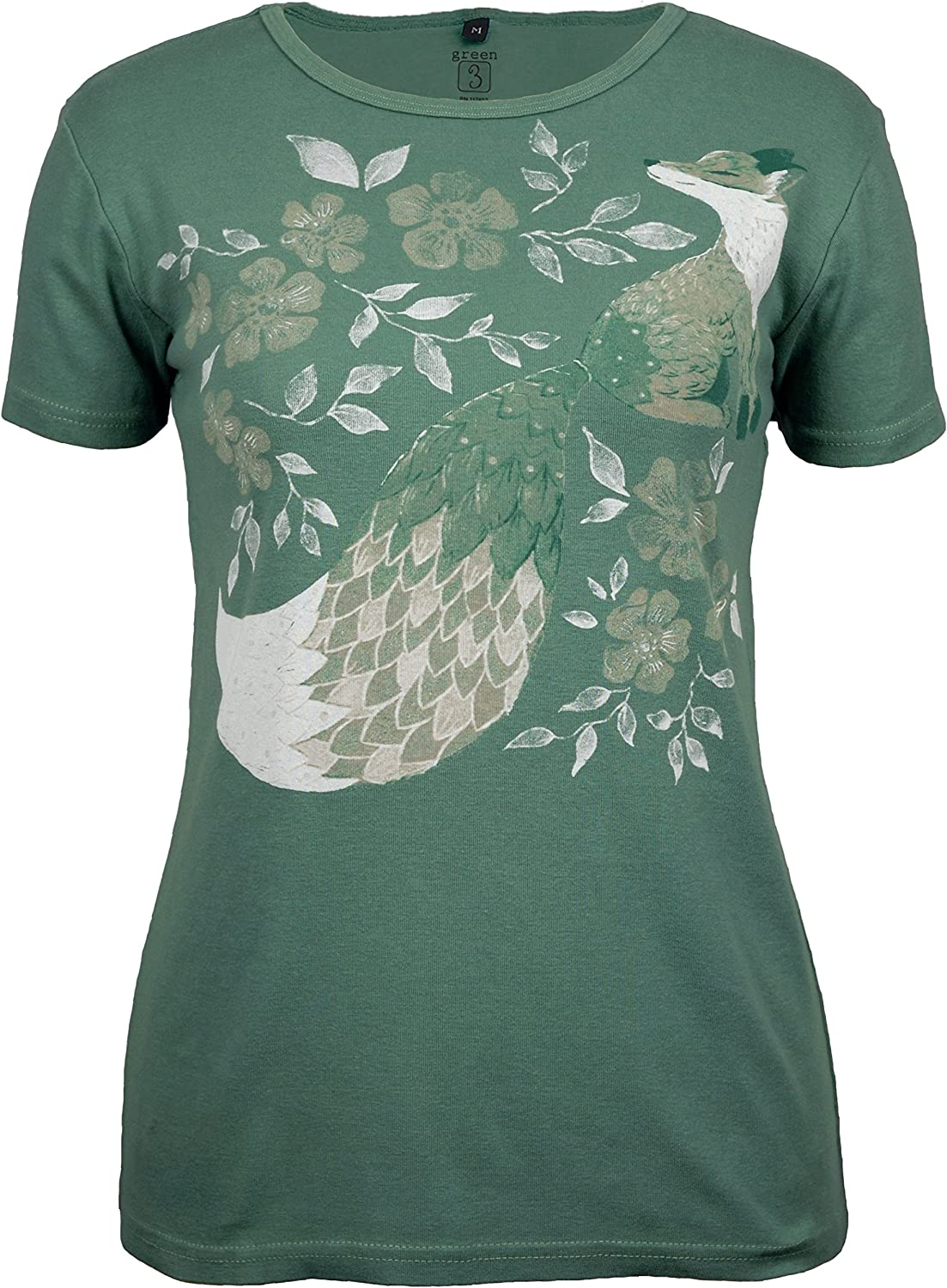 41cad262dc5 Green 3 Short Sleeve T Shirt 100% Organic Cotton Womens Tshirt, Made in The